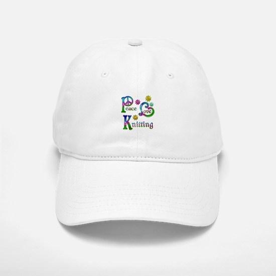 Peace Love Knitting Baseball Baseball Cap