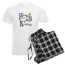 Peace Love Knitting pajamas