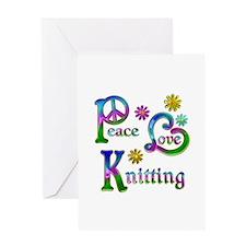 Peace Love Knitting Greeting Card