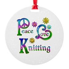 Peace Love Knitting Ornament