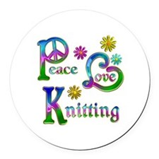 Peace Love Knitting Round Car Magnet