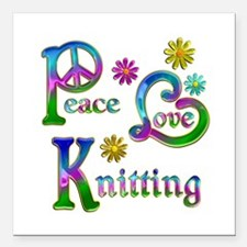 "Peace Love Knitting Square Car Magnet 3"" x 3"""