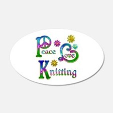 Peace Love Knitting Wall Decal