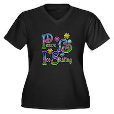 Peace Love I Women's Plus Size V-Neck Dark T-Shirt