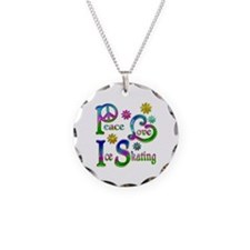 Peace Love Ice Skating Necklace Circle Charm
