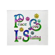 Peace Love Ice Skating Throw Blanket