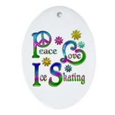 Peace Love Ice Skating Ornament (Oval)