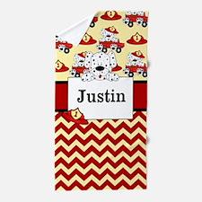 Fireman Dalmatians Personalized Beach Towel