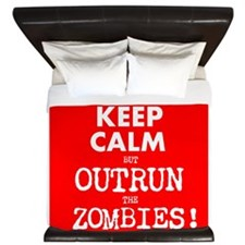 Keep Calm but Outrun the Zombies King Duvet