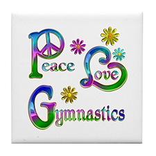 Peace Love Gymnastics Tile Coaster