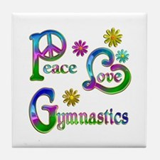 Peace Love Gymnastics Tile Coaster