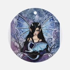 Sapphire Dragon Fairy Gothic Fantasy Art Ornament