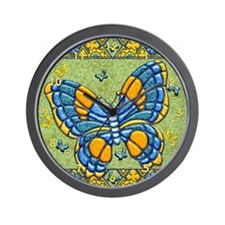 Harvest Moons Quilted Butterflies Wall Clock