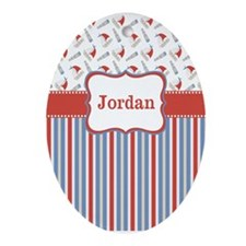 Sailboats Red Blue Personalized Ornament (Oval)