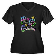 Peace Love C Women's Plus Size V-Neck Dark T-Shirt