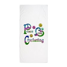 Peace Love Crocheting Beach Towel