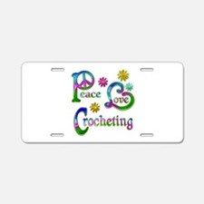 Peace Love Crocheting Aluminum License Plate