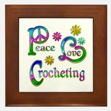 Peace Love Crocheting Framed Tile
