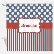 Red Blue Stripes Dots Personalized Shower Curtain