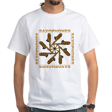 Saxophone Flower Shirts and G White T-Shirt