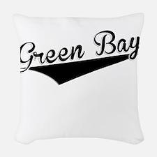Green Bay, Retro, Woven Throw Pillow