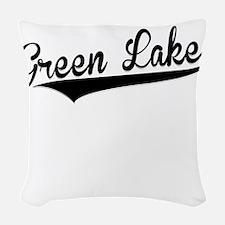 Green Lake, Retro, Woven Throw Pillow