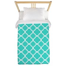 turquoise and white quatrefoil Twin Duvet