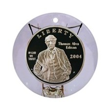 Thomas Edison Dollar Coin Ornament (Round)