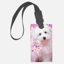 Happy Pink Maltese Luggage Tag