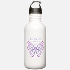 One Day at a Time Quote Butterfly Art Water Bottle