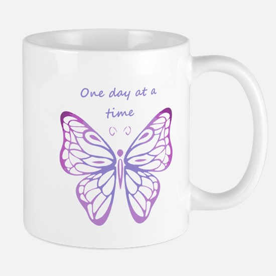 One Day at a Time Quote Butterfly Art Mugs