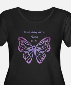 One Day at a Time Quote Butterfly Art Plus Size T-