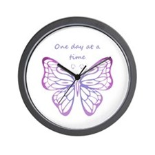 One Day at a Time Quote Butterfly Art Wall Clock