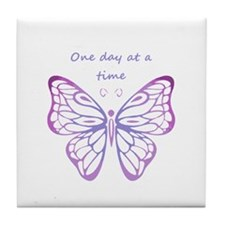 One Day at a Time Quote Butterfly Art Tile Coaster