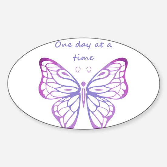 One Day at a Time Quote Butterfly Art Decal