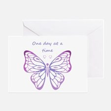 One Day At A Time Quote Butterfly Greeting Cards