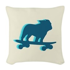 Skateboarding Bulldog Woven Throw Pillow