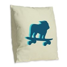 Skateboarding Bulldog Burlap Throw Pillow