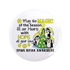 "Spina Bifida ChristmasPenguins1 3.5"" Button"