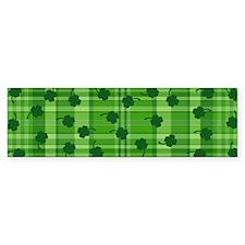 Four Leaf Clover Plaid Bumper Sticker