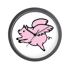 Adorable Angel Pig Wall Clock