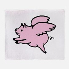 Adorable Angel Pig Throw Blanket
