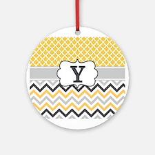 Yellow Gray Quatrefoil Chevron Monogram Ornament (