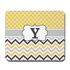 Yellow Gray Quatrefoil Chevron Monogram Mousepad