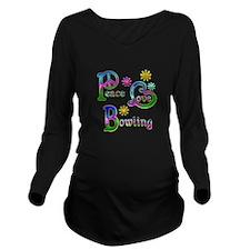 Peace Love Bowling Long Sleeve Maternity T-Shirt