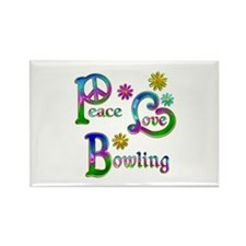 Peace Love Bowling Rectangle Magnet