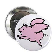 "Adorable Angel Pig 2.25"" Button"