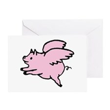Adorable Angel Pig Greeting Cards