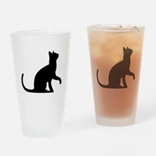 Cat Sitting Drinking Glass