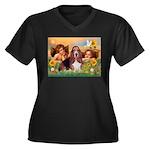 2 Angels & Basset Women's Plus Size V-Neck Dark T-